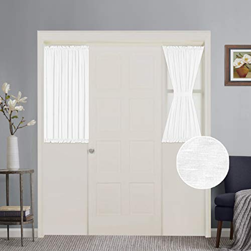 (White Patio Door Curtain Panels Energy Saving Easy Care Short French Door Curtains, Side Lights Front Door Curtains - Two Panels 25W by 40L Inches)
