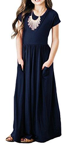 NENONA-Girls-Plain-Short-Sleeve-Pleated-Long-Swing-Casual-Maxi-Dress-Pockets
