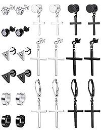 Thunaraz 12 Pairs Stainless Steel Earring Studs for Men Women CZ Earrings Set, Silver Black