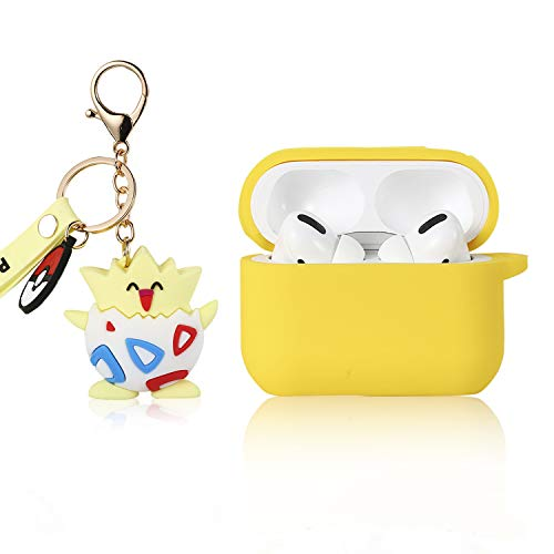 Joyleop Chain Togepi Case for Airpods Pro/ 3, Cute Cartoon Fun Funny 3D Kids Girls Boys Teens Cover, Animal Silicone Keychain Character Shockproof Airpod Skin Cases for Air pods 3/ Pro