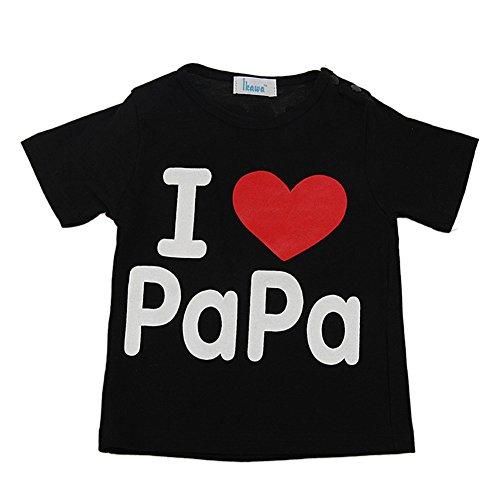 Mama's Boy Costume (Zhengpin I Love Papa Mama Summer Baby Clothes Unisex Boy Girl Short Sleeve Cotton T-shirt (XXL(25Months), BlackA))