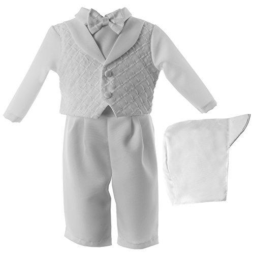 Lauren Madison Baby Christening Baptism 3 Piece Shantung Long Pant Set White 6-9 Months [並行輸入品] B07HLL2GWW