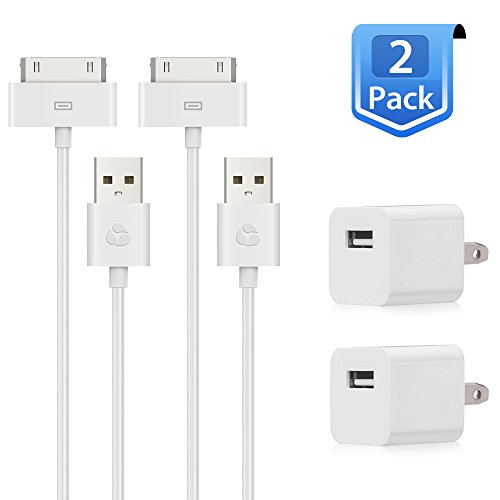 Travalo 5W USB Power Adapter with 30 pin 6 Feet Sync and Charging Cable -2 Pack