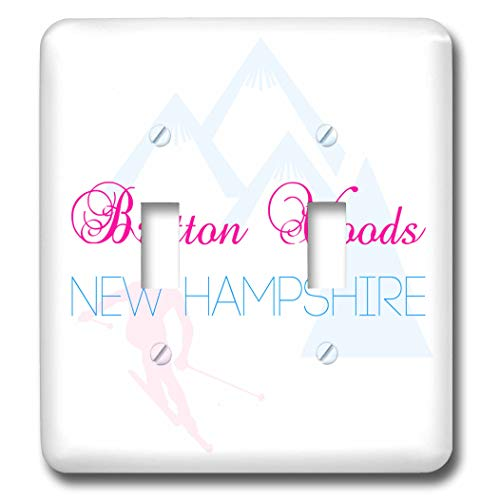 3dRose Alexis Design - American Skiing Places - Bretton Woods, New Hampshire decorative text of blue and red color - Light Switch Covers - double toggle switch (lsp_302124_2) ()
