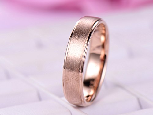 (Men's Wedding Ring Plain 14K Rose Gold, Satin Finish)