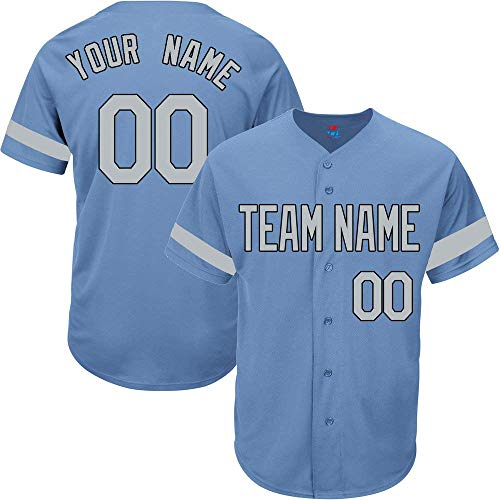 Light Blue Custom Baseball Jersey for Men Women Youth Practice Embroidered Team Name & Numbers S-8XL - Design Your Own]()