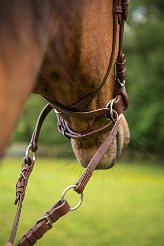 Cross over. Easytrek Pony Size bitless brown leather bridle and grip reins