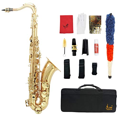 LLC-CLAYMORE B Flat Tenor Saxophone, Brass Sax Beginners Kit, Mouthpiece, Neck Strap, Cleaning Cloth Rod, Gloves, Cork Grease, Hard Carrying Case w/Removable Straps