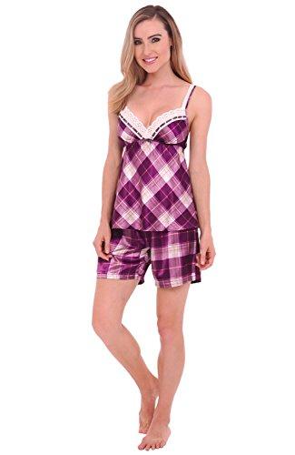 Del Rossa Womens Satin Pajamas, Short Lace Trim Cami Top Pj Set, XL Purple Plaid (A0777P65XL) - Short Mujer