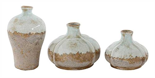 Aged Finish Round Terra Cotta Vases - Two 3-Piece Sets