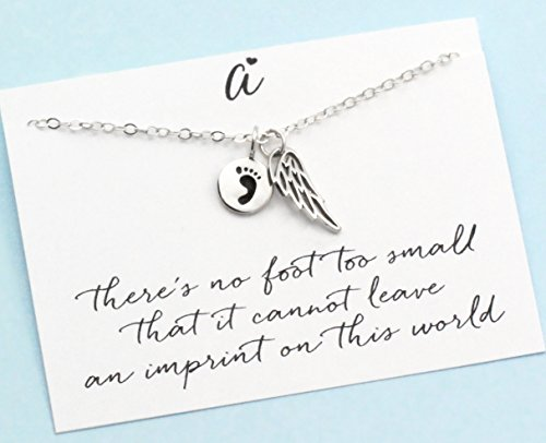 Foot Pendant 14kt Gold Jewelry (In Memory of a Child . Angel Wings . Baby Footprint . Infant Memorial Charm . Sterling Silver . ALSO IN)