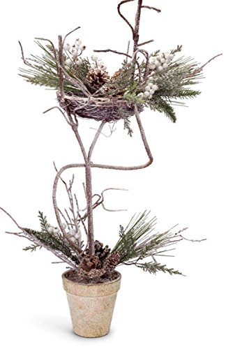 Set of 2 Iced Artificial Mixed Pine with Cones and Berries Decorative Christmas Topiary Trees 27'' by Melrose