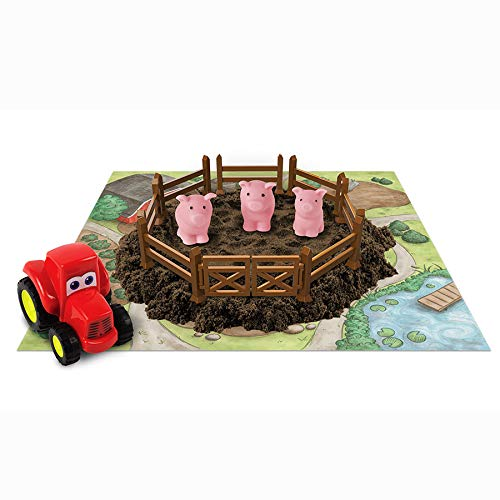 Play Dirt Pig Pen - Unique Play Dirt For Burying and Digging Fun - Includes Dirt, Pigs, Fence, Tractor, and Play Mat Play Visions
