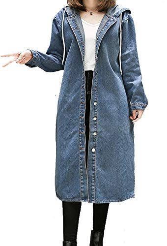 PROMLINK Women Long Sleeve Denim Dress Outwear Plus Size Jean Jacket Coat Blue