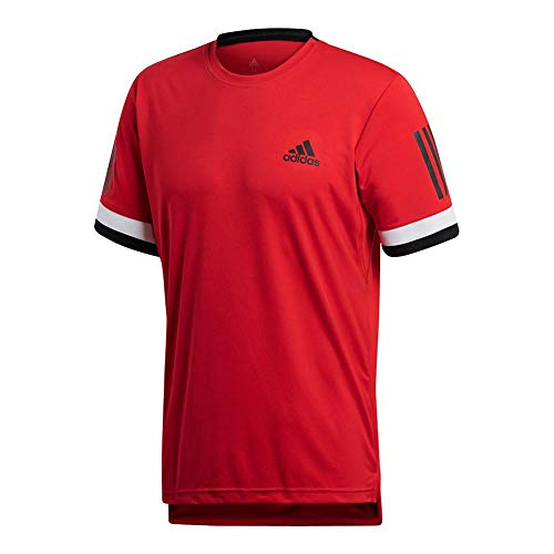 adidas Mens Tennis Club 3 Stripes Tee, Scarlet, Large