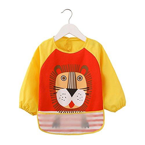 momloves-waterproof-sleeved-bibinfant-toddler-baby-waterproof-bib6-36-months-yellowlions