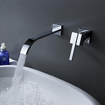 Greenspring Wall Mount Brass Waterfall Bathroom Sink Faucet Single ...
