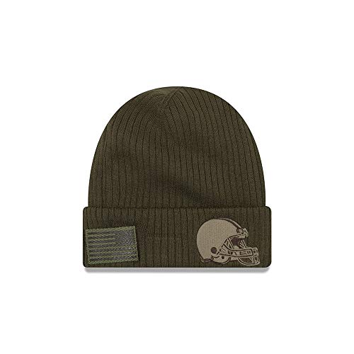 New Era Cleveland Browns 2018 Salute to Service Sideline Cuffed Knit Hat - Olive