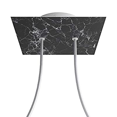 2 Holes - Large Square Ceiling Canopy Kit - Rose One System - Marble Marquina
