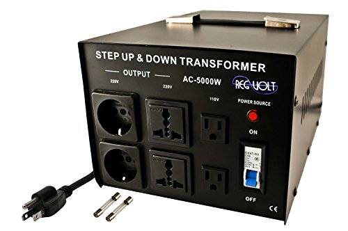 Regvolt AC-5000 Step Up & Down Voltage Converter Transformer, 5000 Watts - Heavy Duty Continuous Use Voltage Converter 110 Volt and 220 Volts with Circuit Breaker Protection, CE Certified ()