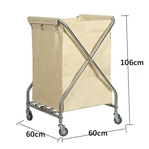Hotel cart, Stainless Steel Thick Linen car Hotel Hotel Room Cleaning Hand Push Work car by HT trolley (Image #1)