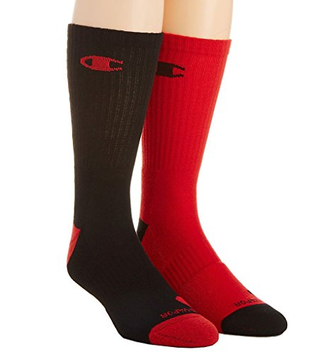 Champion Men's 2 Pack Basketball Crew Socks, Black/Red, Sock Size: 10-13/Shoe Size:9-11
