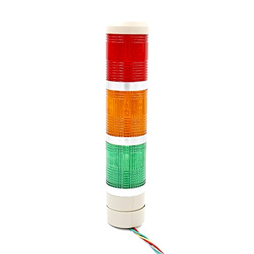 Baomain Industrial Signal Light Column LED Alarm Round Tower Light Indicator Continuous Light Warning light Red Green Yellow AC 110V by Baomain