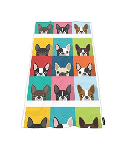 (Moslion Comfy Bath Towels Boston Terrier Bulldog Soft Bathing/Beach/Camping Towel for Women Men Girls Boys Large Size 64x32 Inches)