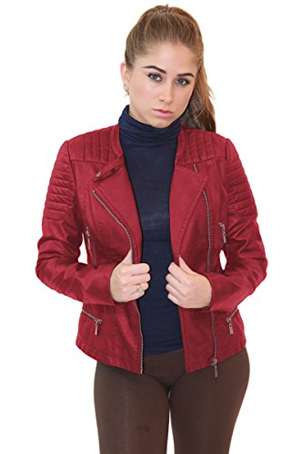 Olivia Miller Womens Faux Leather Zip up Moto Biker JK5207SX RED 2X (Jacket Size Plus Leather Red)