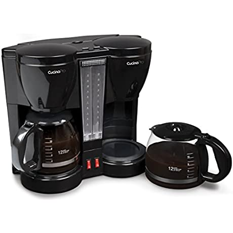 CucinaPro Double Coffee Brewer Station Dual Coffee Maker Brews Two 12 Cup Pots Each With Individual Heating Elements