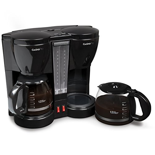 CucinaPro Double Coffee Brewer Station – Dual Coffee Maker Brews two 12-cup Pots, each with Individual Heating Elements
