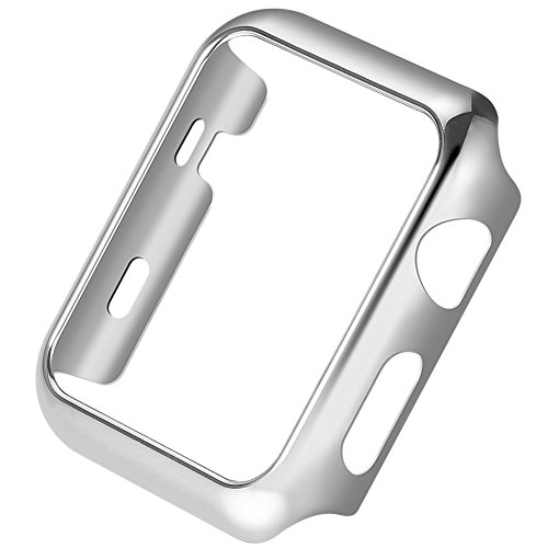 For Apple Watch Case Series 3 Super Thin PC Plated Protective Bumper iWatch Case Cover 38mm 42mm (42mm, Silver)
