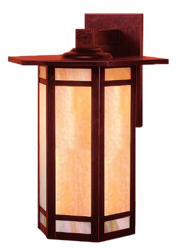 Craftsman Exterior Wall (Arroyo Craftsman ETB-14GWC-RC Etoile Collection 1-Light Exterior Wall Lantern, Raw Copper Finish with Gold White Iridescent Glass)