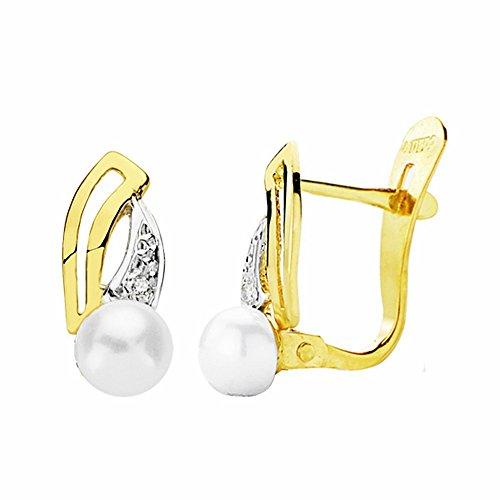 Boucled'oreille 18k 13mm bicolor d'or. perles zircons [AA2380]