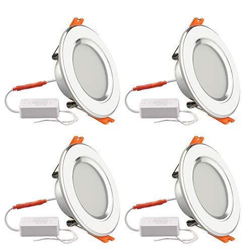 GALYGG 3 Inch LED Downlight Retrofit Kit, 280LM 4W (25W Equivalent) Recessed Lighting Trim, 3 Color Changing (3000K to 4500K to 6500K) Light Fixture, White - 4 Pack