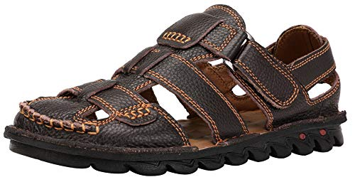 JIONS Closed Toe Leather Fisherman Sandals for Men Men's Casual Outdoor Adjustable Strap Summer Shoes (43/9.5 D(M) US, A- Dark Brown)