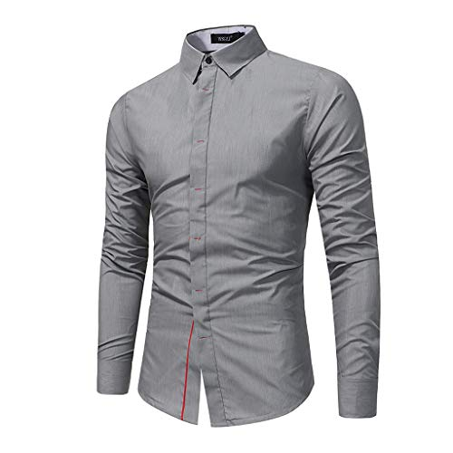 GDJGTA T-Shirt for Mens Turn-Down Collar Long Sleeve Casual Button Slim Fit Top Shirt Blouse Gray ()