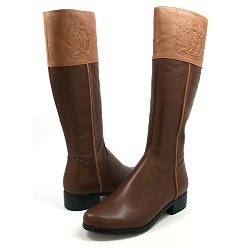 SoleMani Women's Chastity Leather Boots SLIM CALF Brown/Banana Bread (Slim Calf Boots)