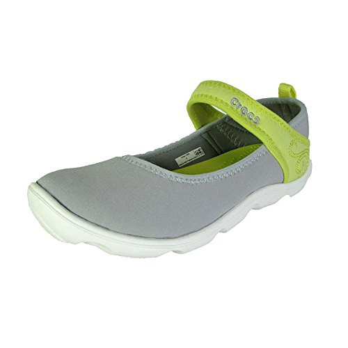 Crocs Junior Duet Busy Day Mary Jane Shoe, Lt Grey/Chartreuse, US 2 Little Kid