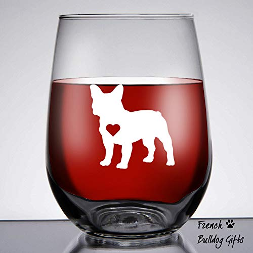French Bulldog Gifts/Frenchie Gifts for women Large 15 oz Libbey Stemless French Bulldog Lovers Wine Glass/Best Frenchie Gifts - Silhouette Bulldog French