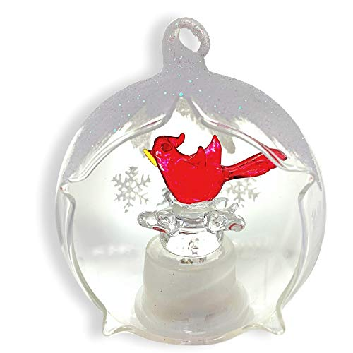 Cardinals Hand Painted Ball Ornament - BANBERRY DESIGNS Cardinal LED Christmas Ornament Light Up LED Color Changing Lights - Hand Painted Glitter Snowflakes- Glass Globe Xmas Ornament