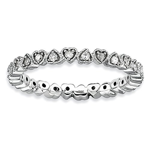Diamond (I3, J-K 0.24 cttw) Size 7 Heart 2.25mm Eternity Band Silver Stackable Expressions Ring by Stackable Expressions