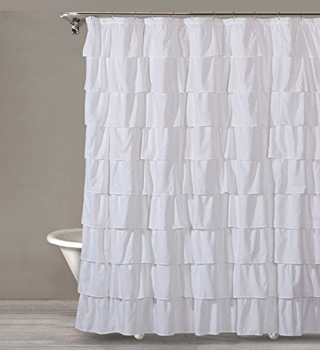 Style Quarters BIANCA RUFFLE Shower Curtain - White Ruffles - Polyester - Machine Washable - Buttonhole - 1pc - 72