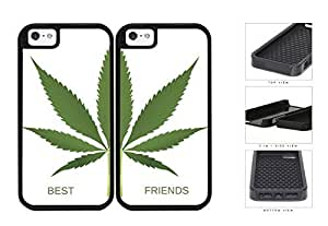 Green Weed Leaf Best Friends Set 2-Piece Dual Layer High Impact Hard shellSilicone Cell Phone Case Case For Iphone 5/5S Cover