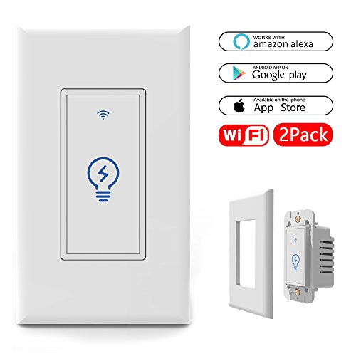 WiFi Smart Light Switch In-Wall, Wireless Lighting On/Off No Hub Required, Timing Function Control your Fixtures Anywhere, Voice Control with Alexa, Overload Protection, With wall plate 15A, 2 Pack