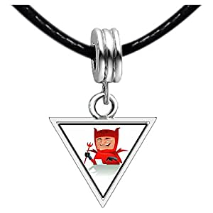 Chicforest Silver Plated Halloween red devil Photo Triangle Charm Beads Bracelets European Bracelets Compatible
