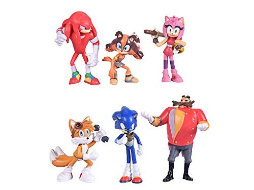 (Max Fun Set of 6pcs Sonic the Hedgehog Action Figures, 5-7cm Tall Cake toppers-Collect Sonic, Knuckles, Tails, Amy and evil Dr. Eggman)