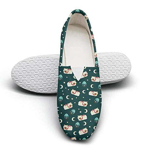 Merry Christmas cute sleeping bear Women's Casual Shoes for womens Customize Highly Breathable ()