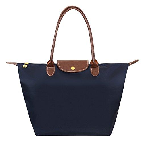 ABage Women's Waterproof Tote Bag Medium/Large Nylon Travel Shoulder Beach Bags, Navy Blue, Medium