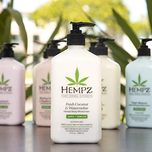 Hempz Fresh Coconut & Watermelon Moisturizing Skin Lotion, Natural Hemp Seed Herbal Body Moisturizer with Chamomile & Avocado Extracts, VitaminsA, C, E & D, 17 oz